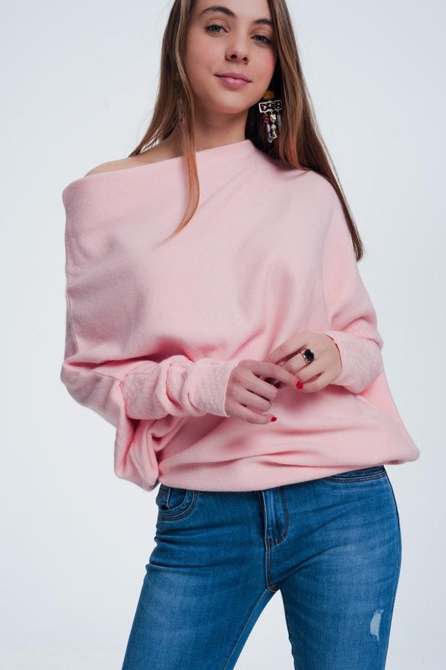 Roze trui met lange mouwen