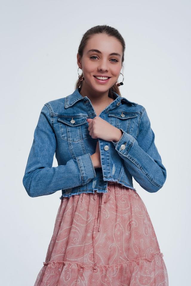 licht denim cropped jas