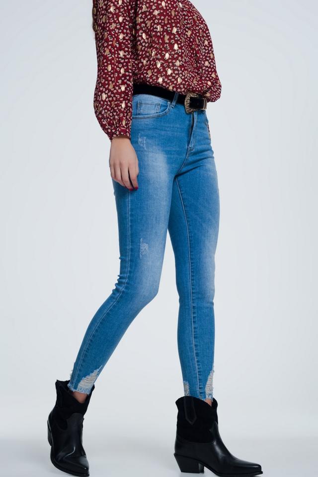 Super skinny jeans met slijtage detail en enkel details