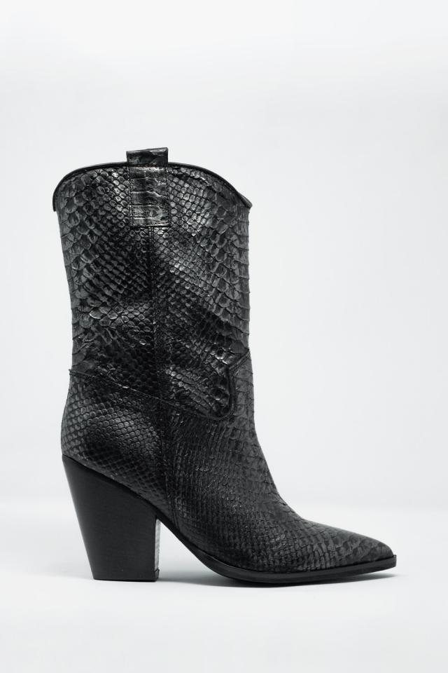 Zwarte lederen laarzen met slangenpatroon