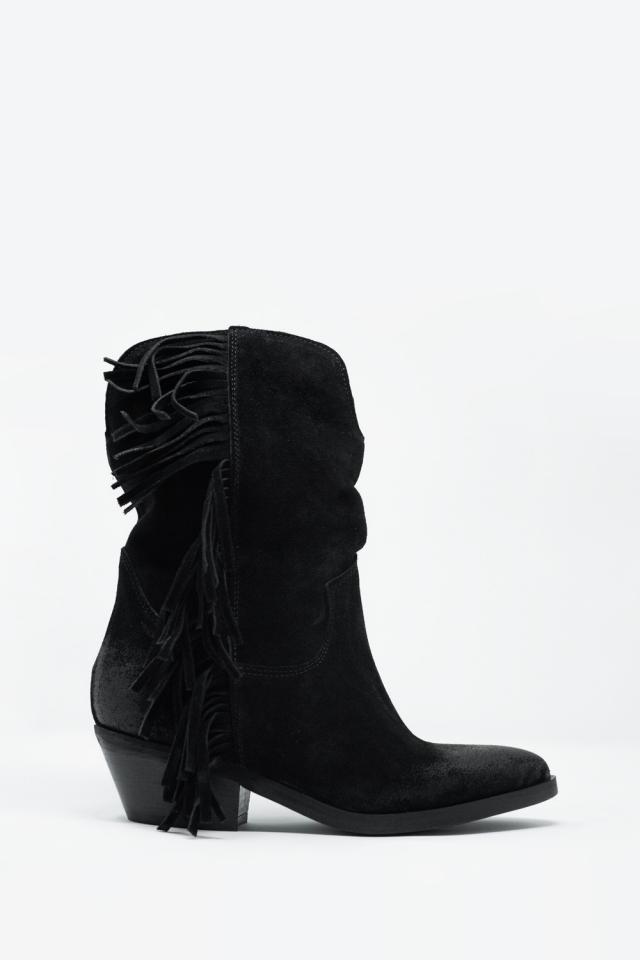 Zwarte laarzen met touw gedetailleerde zijkant