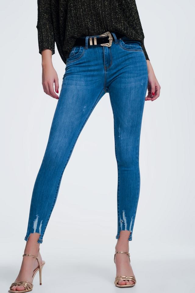 Lichte jeans met ingesneden enkel detail
