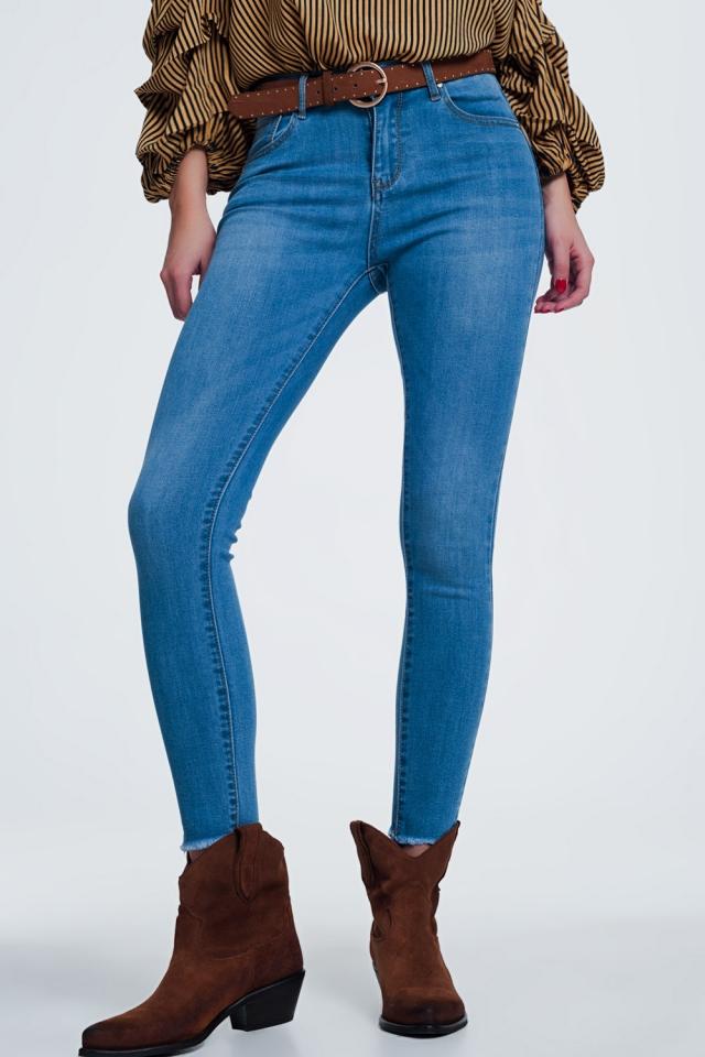 Lichte denim skinny jeans met afgesneden enkel