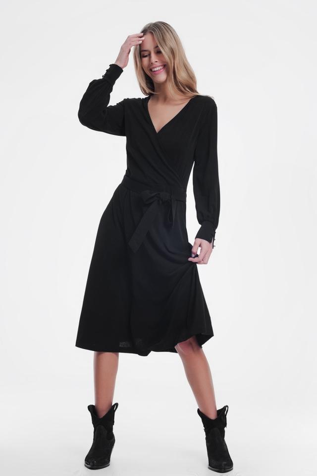 Wikkel jurk midi in zwart