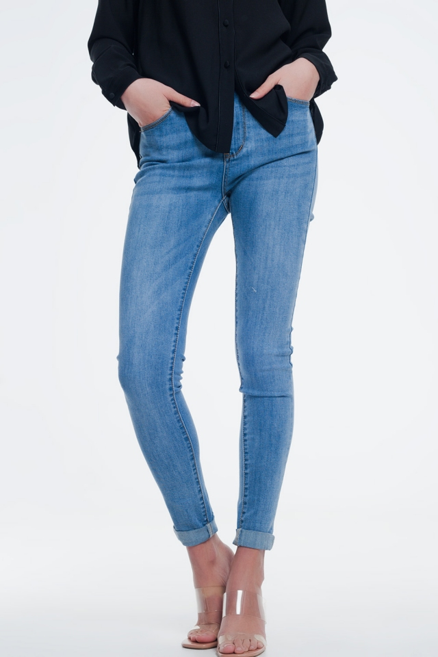 jeans Lichte denim hoge taille skinny jeans