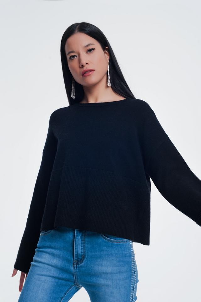 Zwarte sweater met lange mouwen