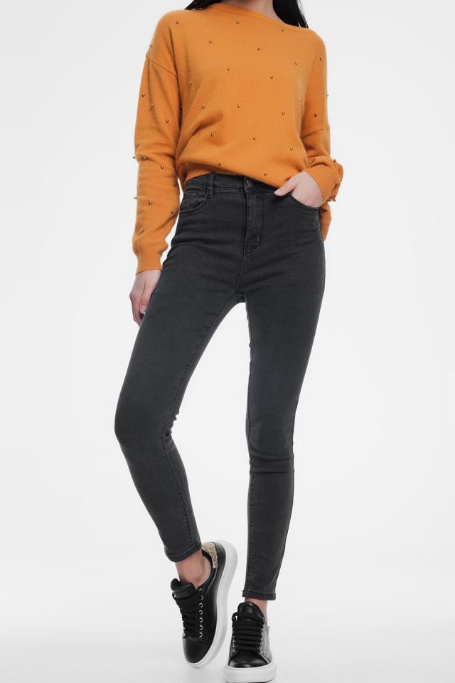 Grijze skinny jeans met hoge taille
