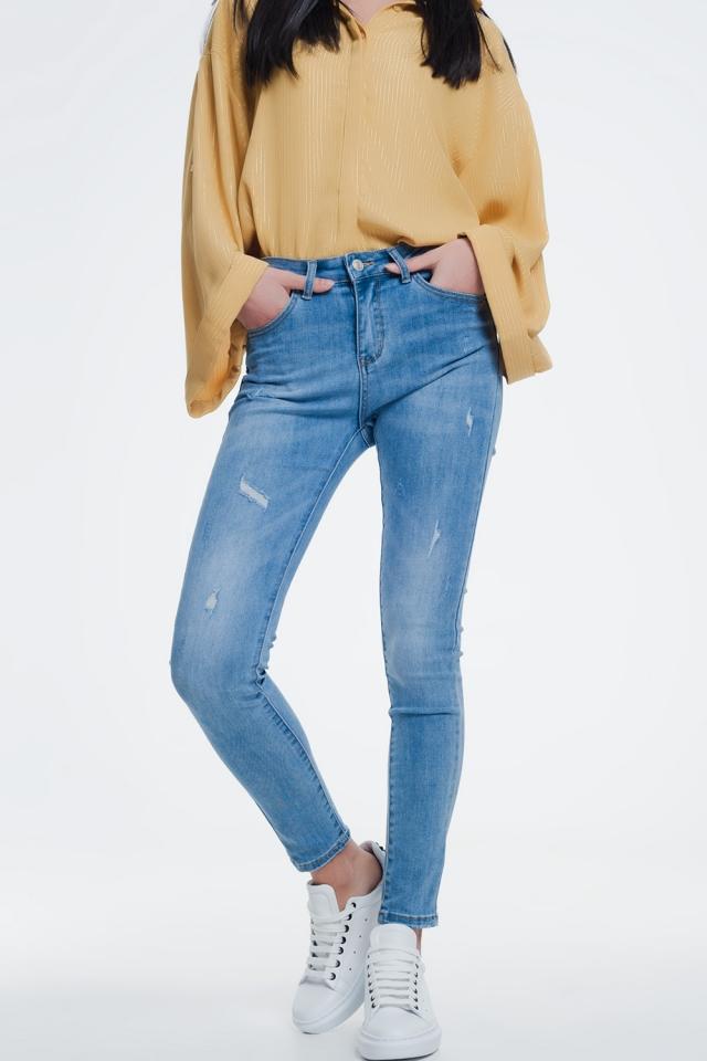 Licht denim skinny jeans lichte slijtage detail