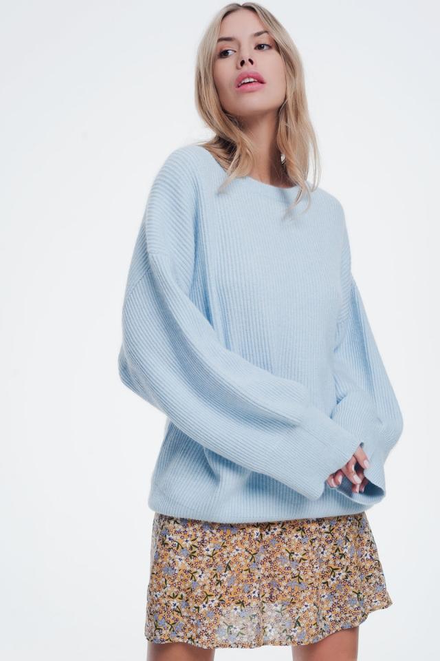 Blauwe trui met boothals