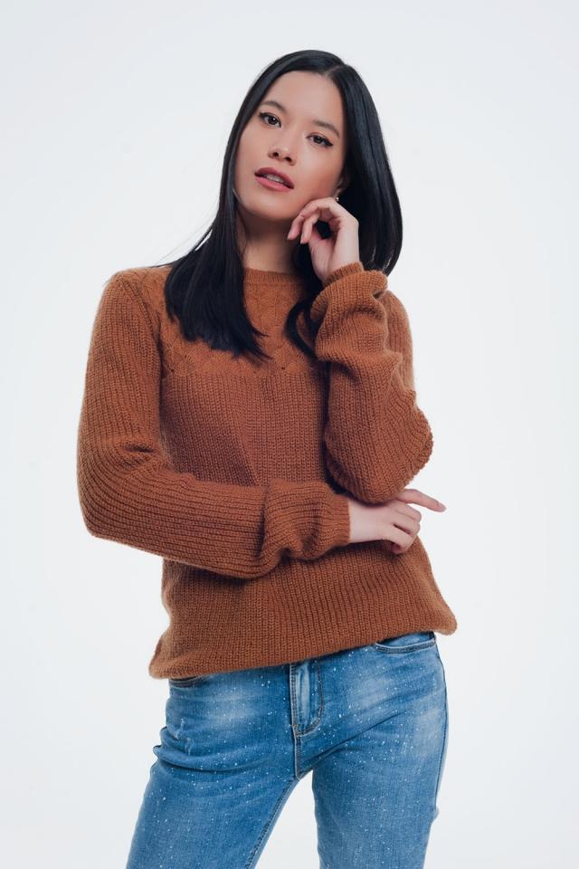 Getextureerde trui in het bruin