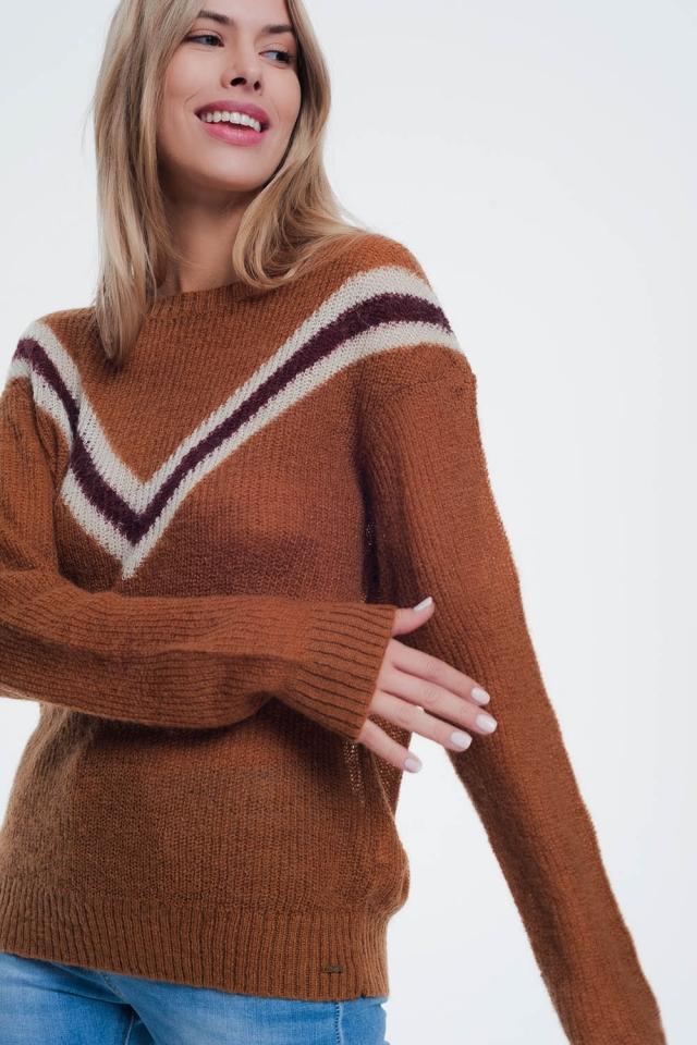 Kameel dekleurde trui met streep detail