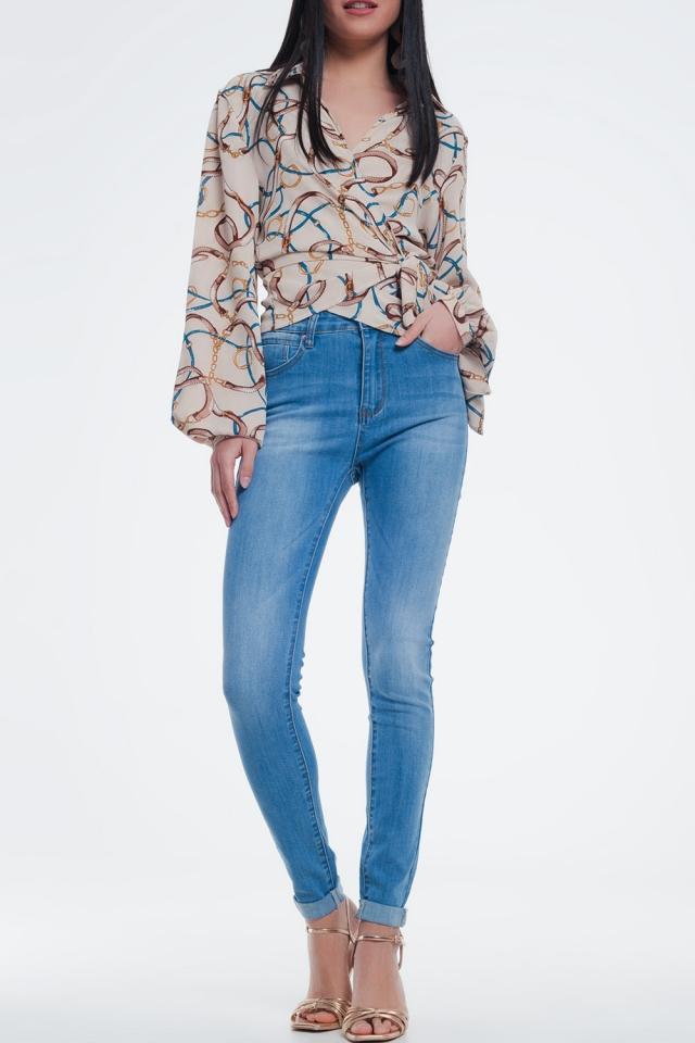 Lichte denim skinny jeans in lichte wassing