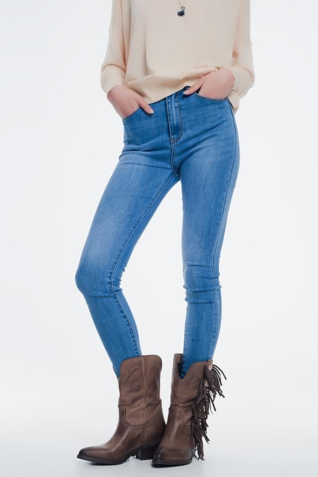 Hoge taille skinny jeans in lichte denim