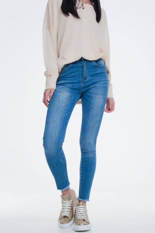 skinny jeans in licht denim met enkel detail