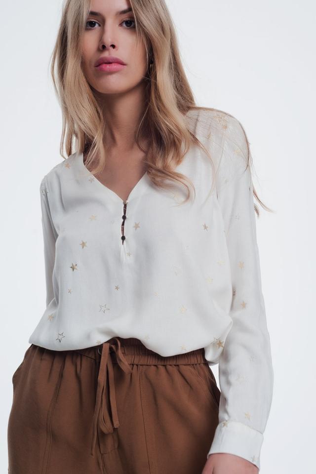 crème blouse met sterren print