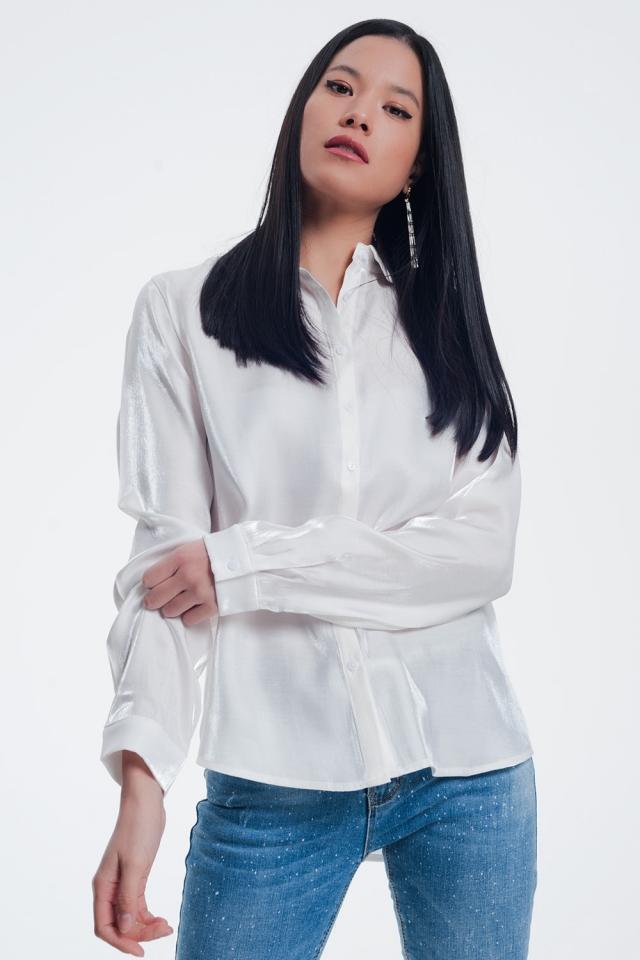 Witte glimmende blouse met lange mouwen