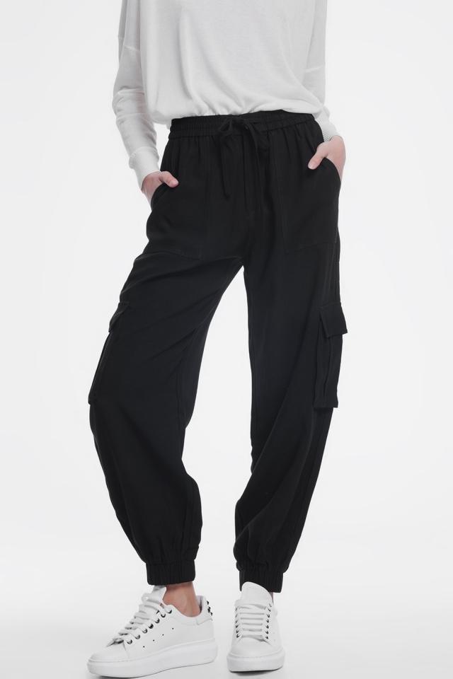 Zwarte cargo broek met elastische enkels