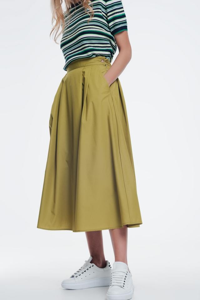 Groene rok met dikke tailleband