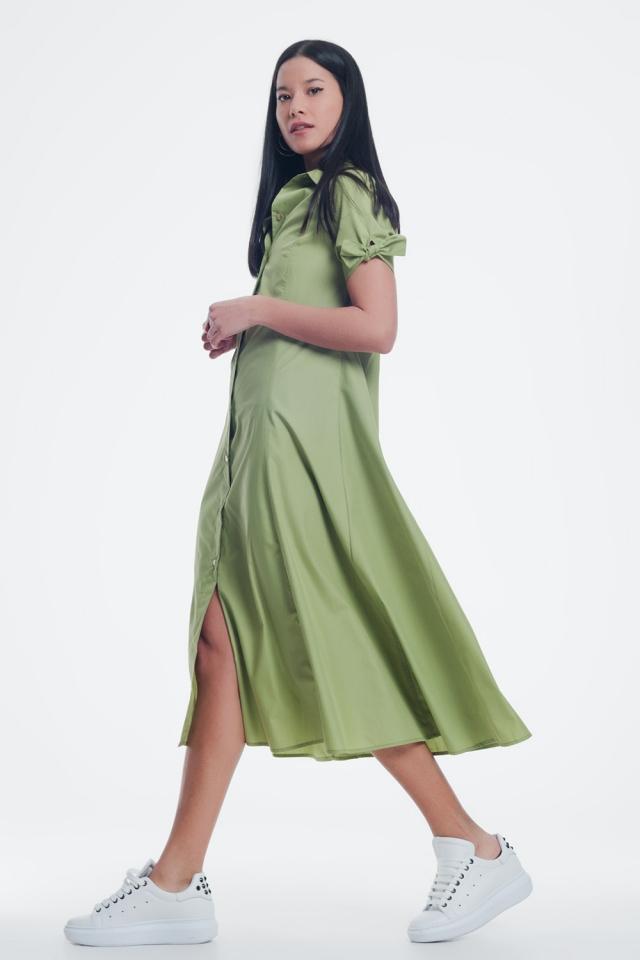 Korte mouwen groene jurk met knoopsluiting