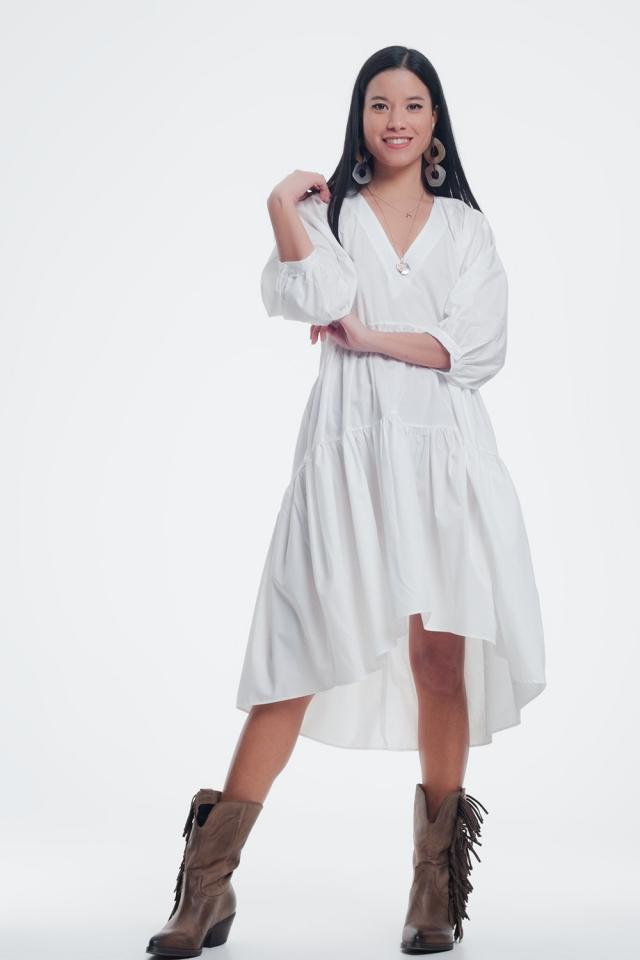 witte midi jurk met v hals