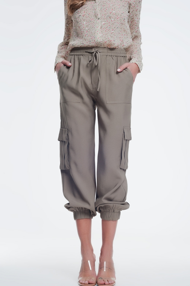 Khaki cargo broek met elastische enkels
