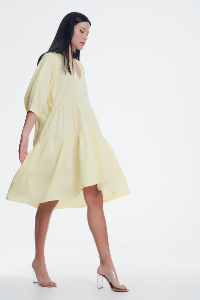 Gele midi jurk met v hals