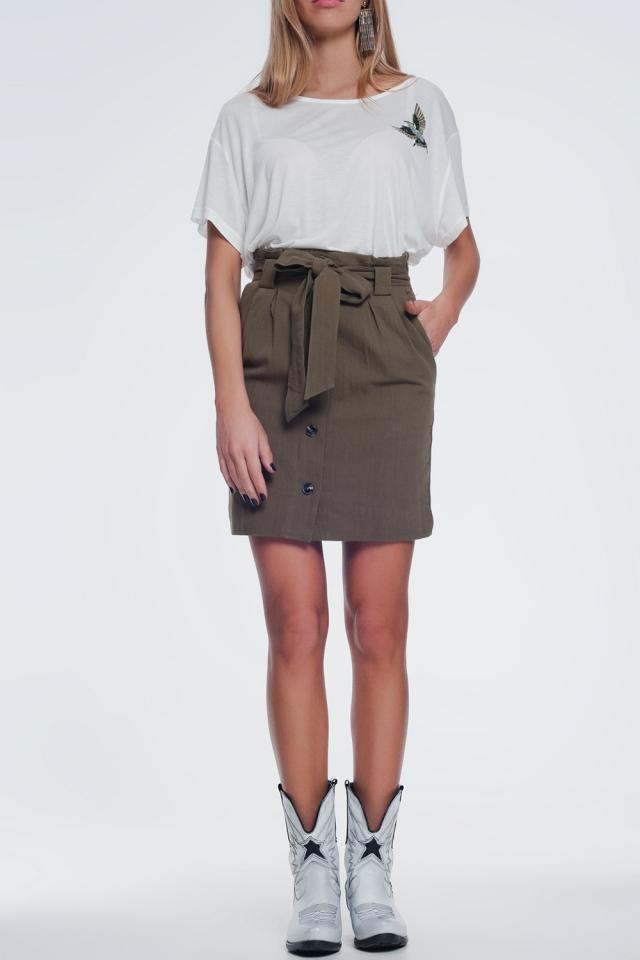 Mini-kaki rok met knopen aan de voorkant