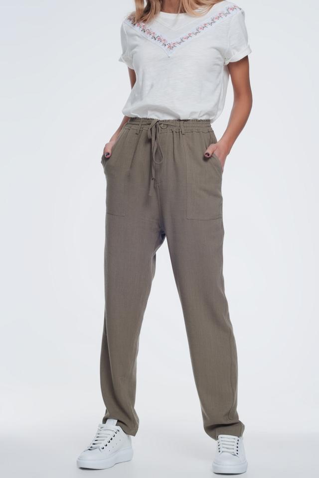 Kaki broek met elastische taille