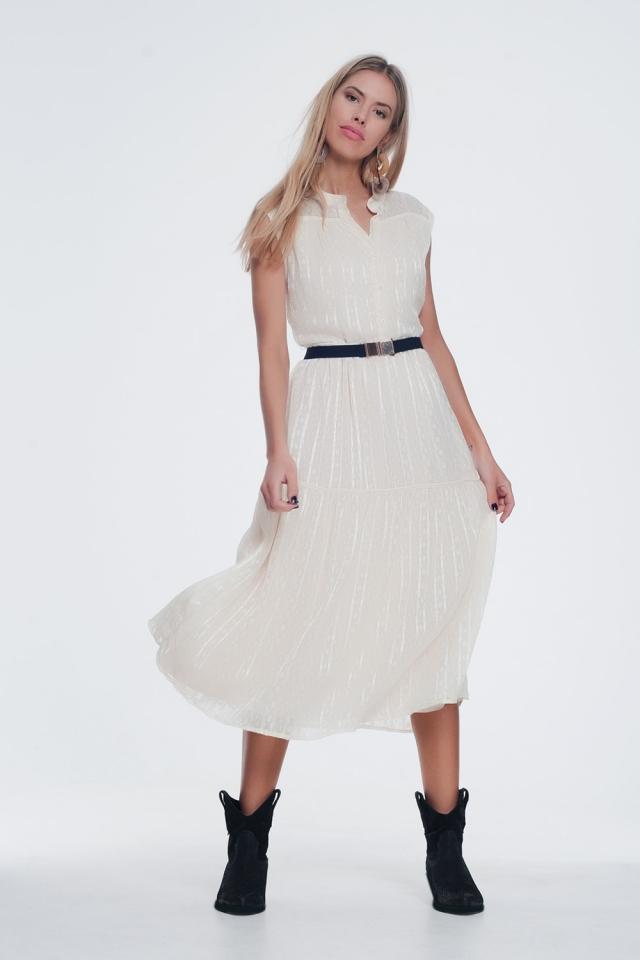 Gestructureerde jurk met knopen en gelaagde rok in beige