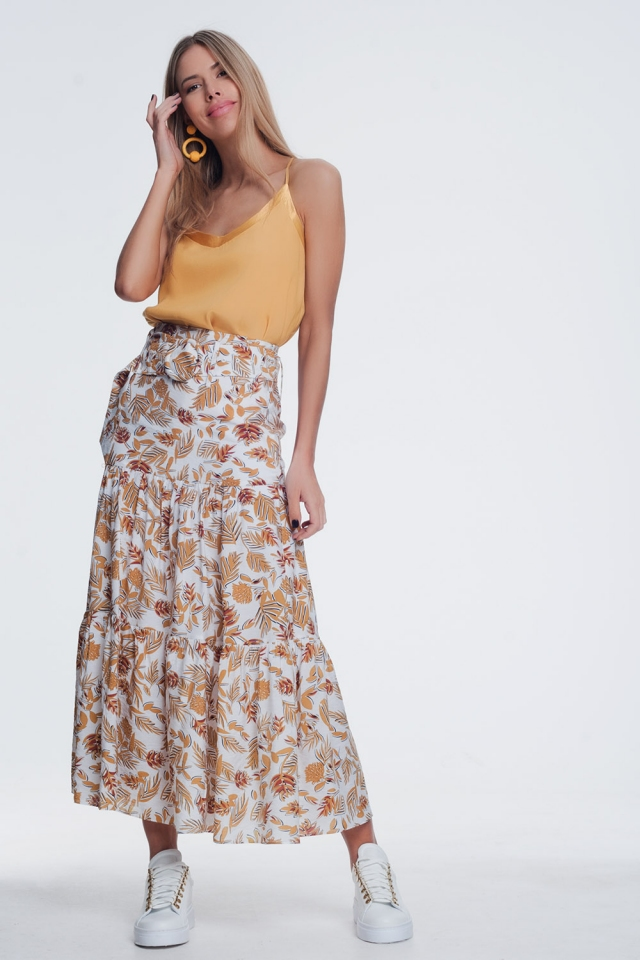 Midi-rok met jungle-bloemenprint
