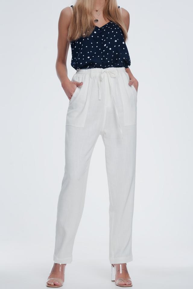 creme broek met elastische taille