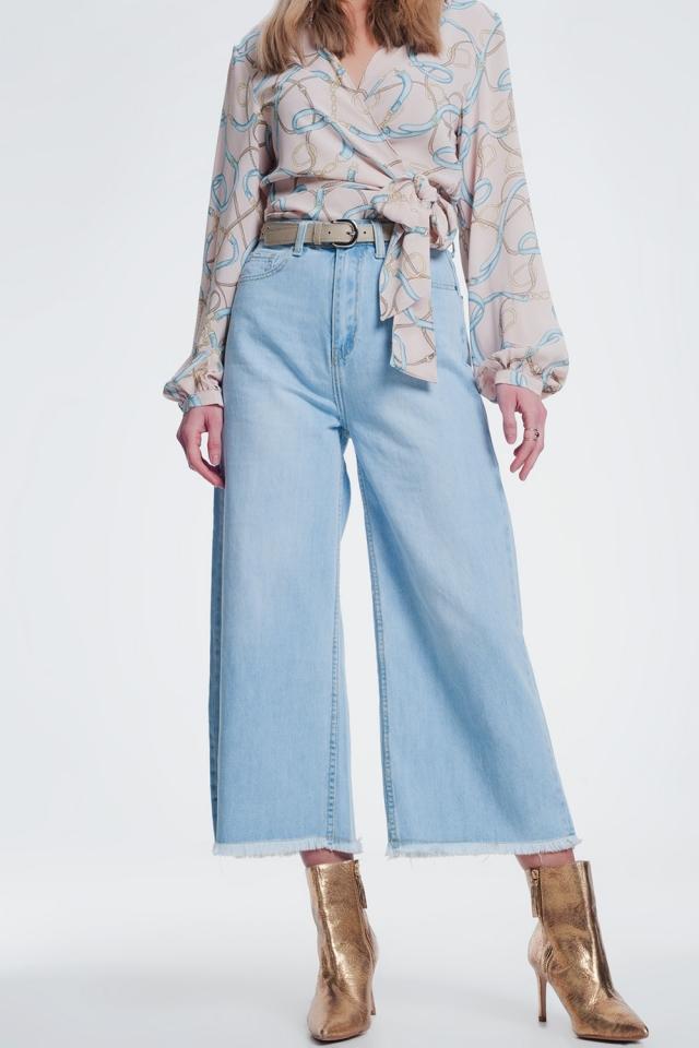 Jeans met versleten zoom