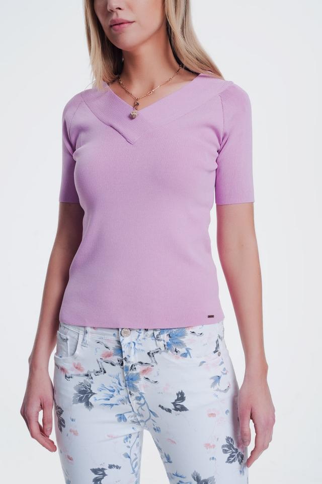 trui met V-hals in het roze
