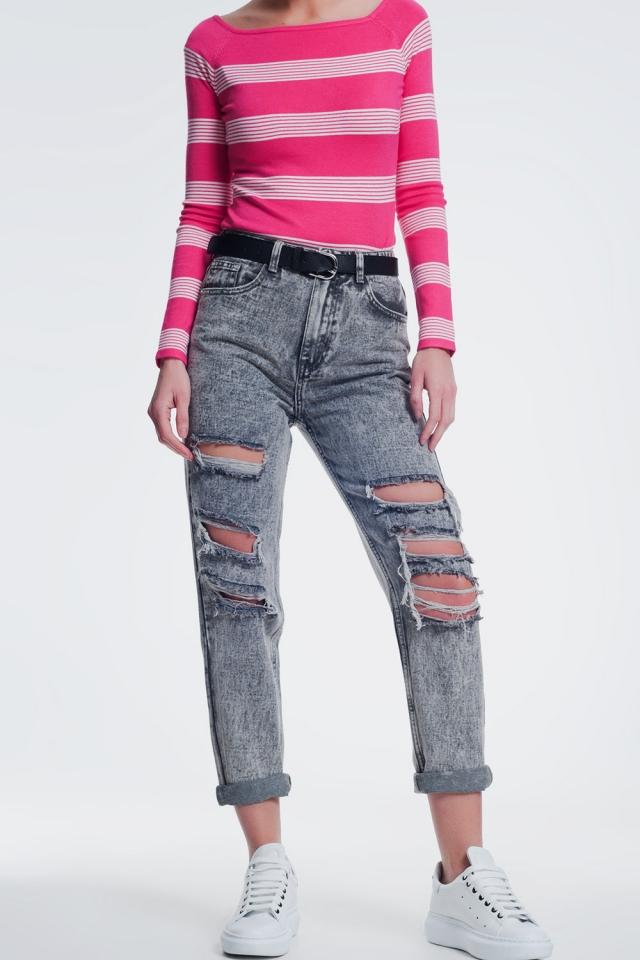 gescheurde rechte jeans in grijs