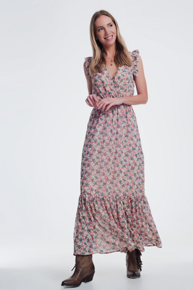 lange jurk met V-hals en bloemenprint in beige