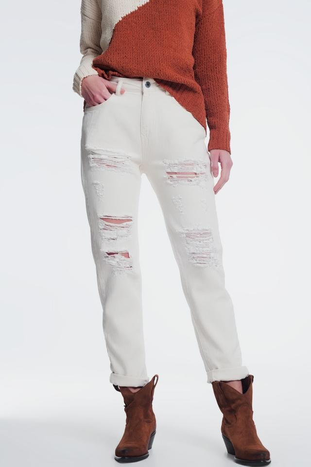 Boyfriend jeans met scheuren in beige