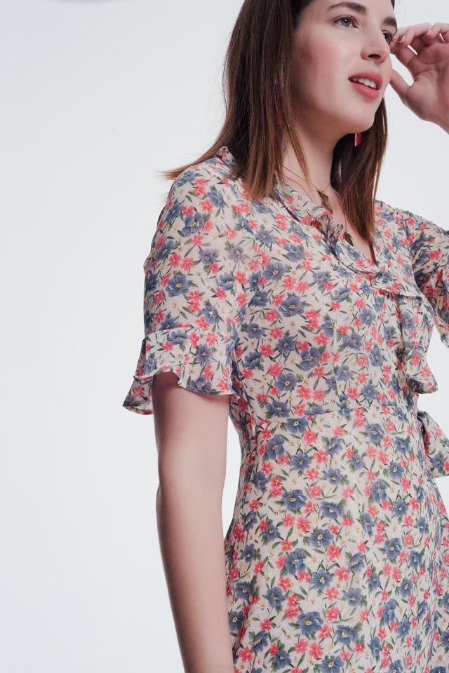 beige midi jurk met bloemenprint