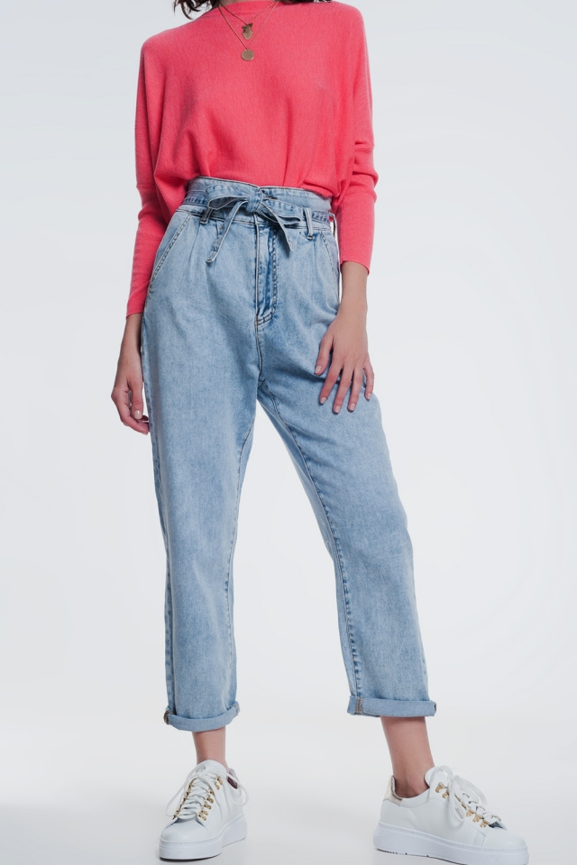 Rechte jeans in licht denim met riem
