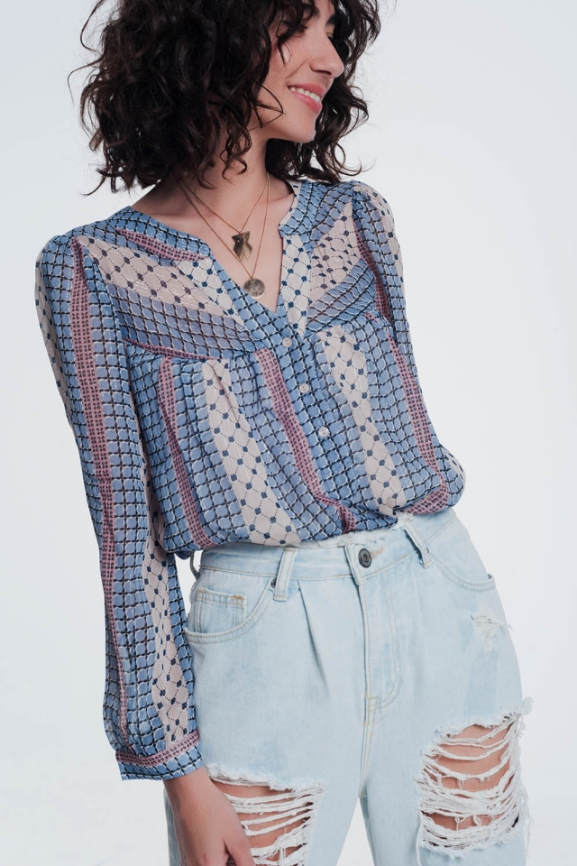 Blauw gekleurd shirt met print
