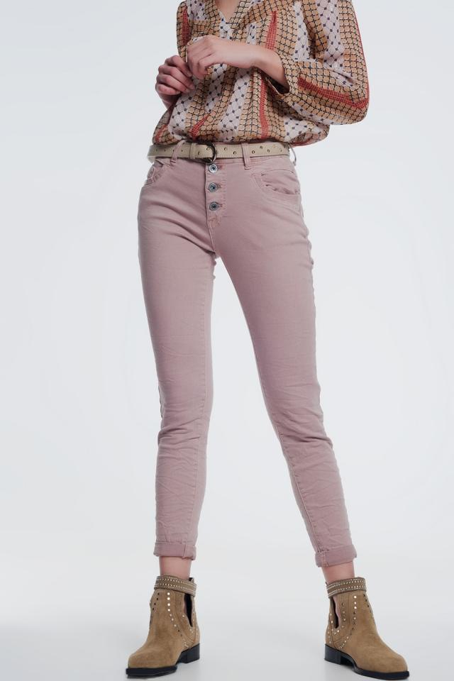 Boyfriend-jeans met ballonpijpen in roze