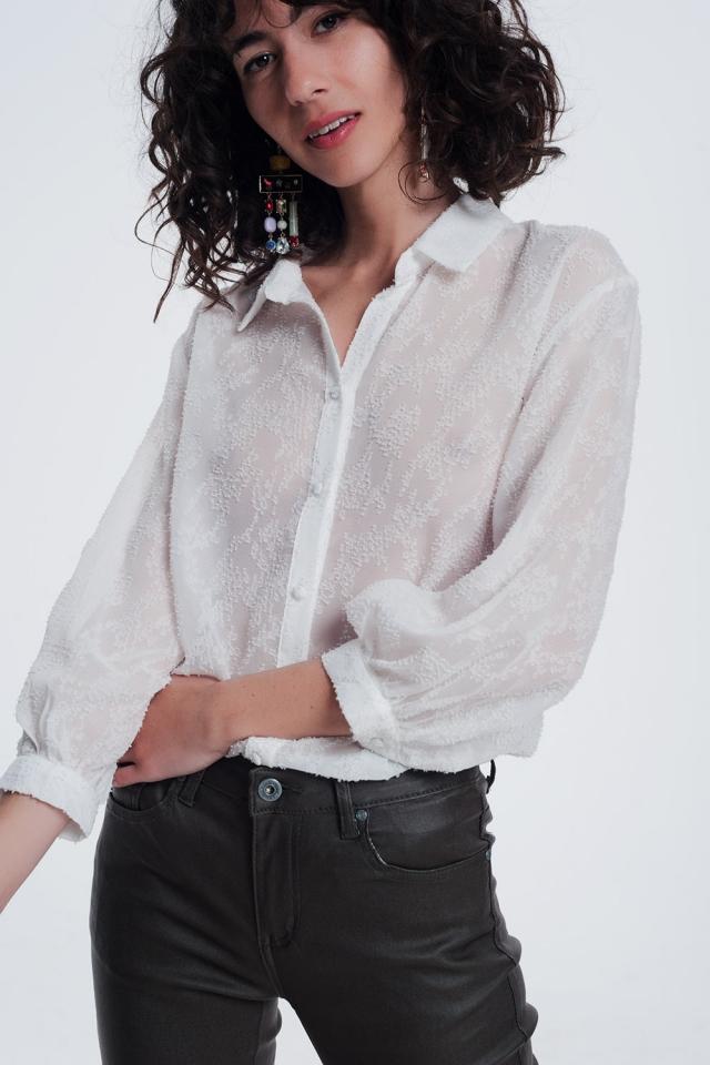creme blouse met lange mouwen en kraag