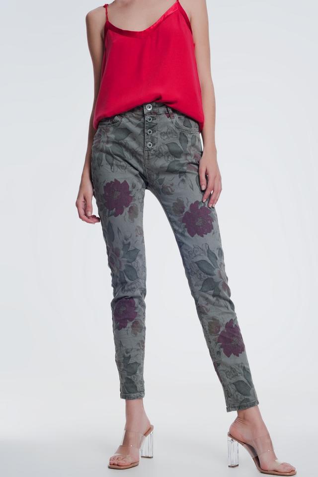 kaki boyfriend jeans met bloemenprint