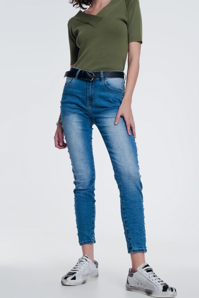 gerimpelde jeans met spijkerstof