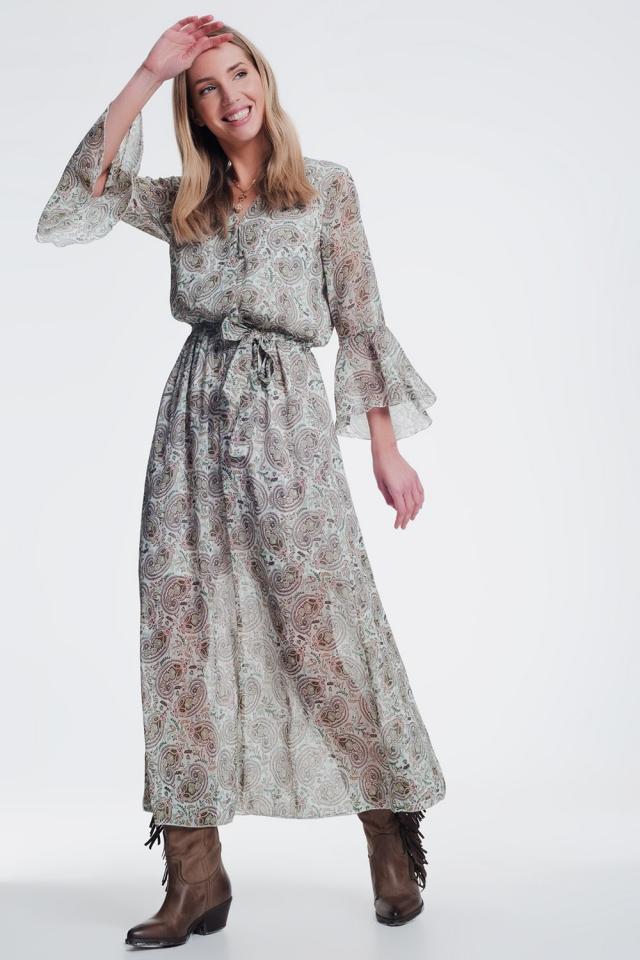 midi-jurk met lange mouwen in groen patroon