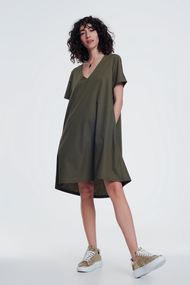 kaki glimmende jurk met v hals