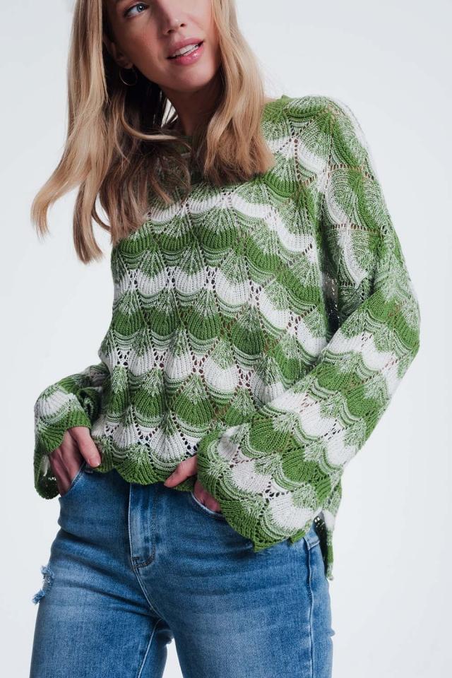 Groen gestreepte trui met open gebreid detail