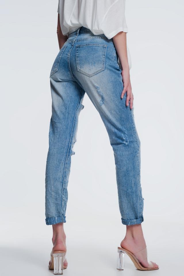 Ripped jeans met rechte pijpen en hoge taille in lichtblauw