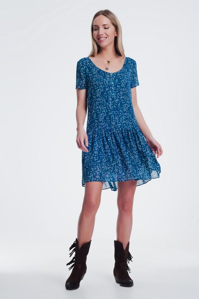 Blauwe Aangerimpelde mini-jurk met V-hals en strook in fijne bloemenprint