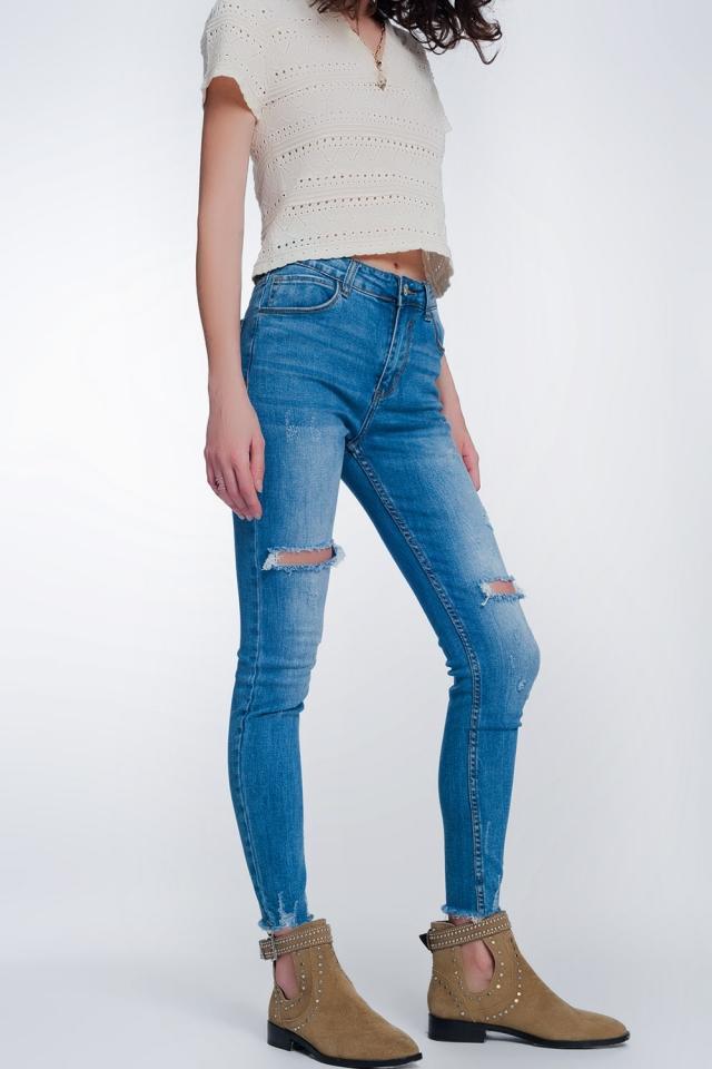 super skinny jeans met gaten in de knieën