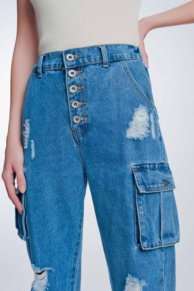 Klassieke stugge jeans met cargozak in lichte stone wash